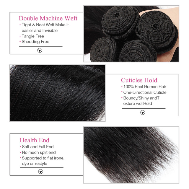 Straight Hair Bundles With Closure Brazilian Hair Weave Bundles With Closure Human Hair Bundles With Closure Remy Hair