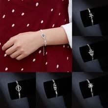 Rinhoo, новая мода, голубые глаза, посеребренные браслеты для женщин, серебряная Морская звезда, ЭКГ, полый круглый браслет, кошка, кокосовое дерево, ювелирное изделие