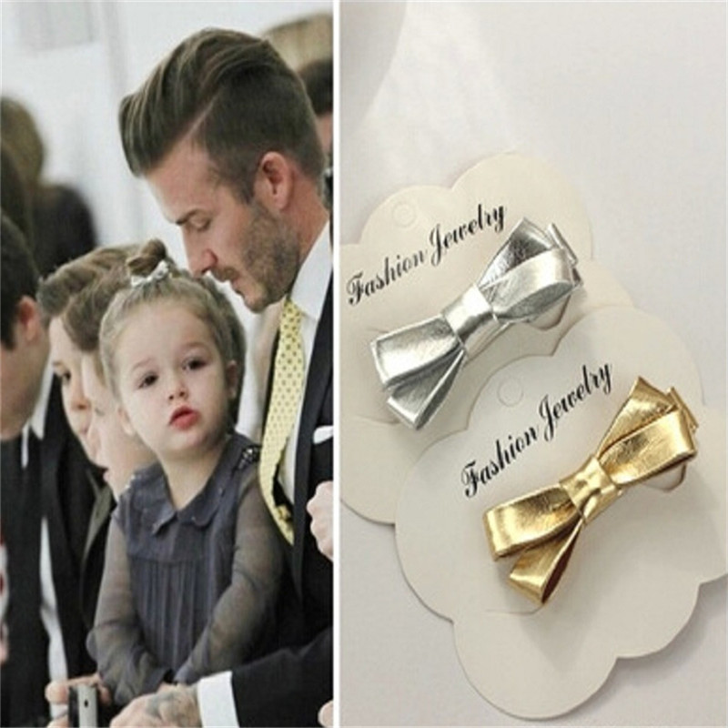 Cute Kids Hair Clip PU Leather Bow Barrettes Baby Headband Girls Hairpin Gold and Silver Color Hair Clip for Women Girl Gift barrettes cute baby girl big bow clips boutique hair pin luxury girls hairpin hair accessories free shipping