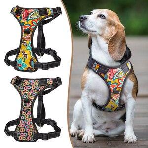 Image 1 - Harnais réfléchissant pour chien, en Nylon, sans traction, harnais K9, réglable et imprimé pour chiot, pour petits, moyens et grands chiots, de S XL