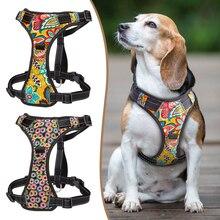 Hiçbir Çekme Naylon köpekler için yelek tasma Yansıtıcı K9 Köpek Koşum Ayarlanabilir Baskılı Pet Yavru Tasması Küçük Orta Büyük Köpekler Için S XL