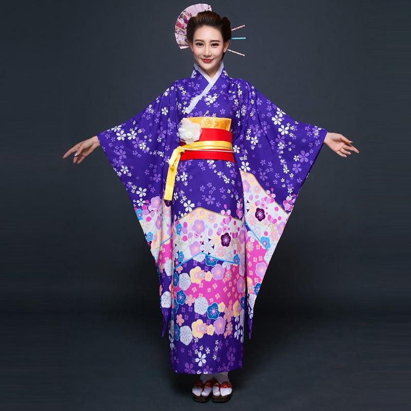 Japanese Dressing Gown: High Quality Purple Japanese Women Kimono Dress