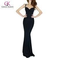 Buổi tối ăn mặc grace karin 2017 phụ nữ giá rẻ backless xanh màu đỏ mỏng-line sexy bodycon đảng dài đen gown chính thức mermaid dresses