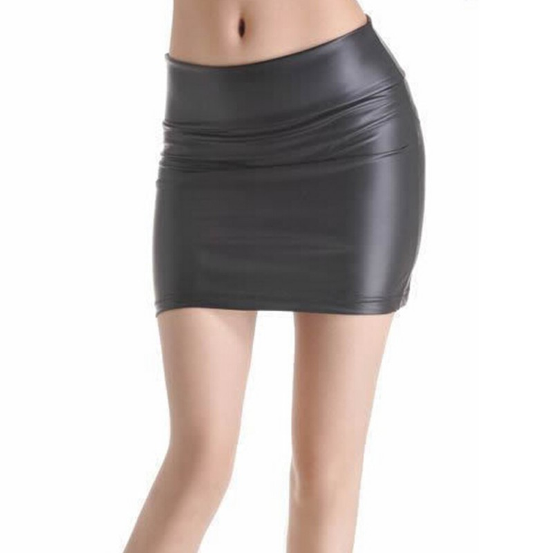 New ArrivalWomen Black Stretch Faux Leather Tight Zip High Waist Mini Skirt Plus Sizes S-3XL