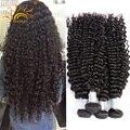 Глубокая Волна Тесная Курчавый Бразильский Виргинский Наращивание Волос 8А Необработанные Человеческих волос Weave Бесплатная Доставка modernshow вьющиеся волосы курчавые