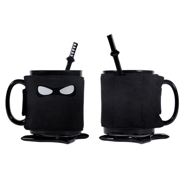 Creative Ninja Coffee Mug Coasters Stirring Spoon With Detachable Insulated Ceramic Mugs Birthday Gifts Tea Cups Gift