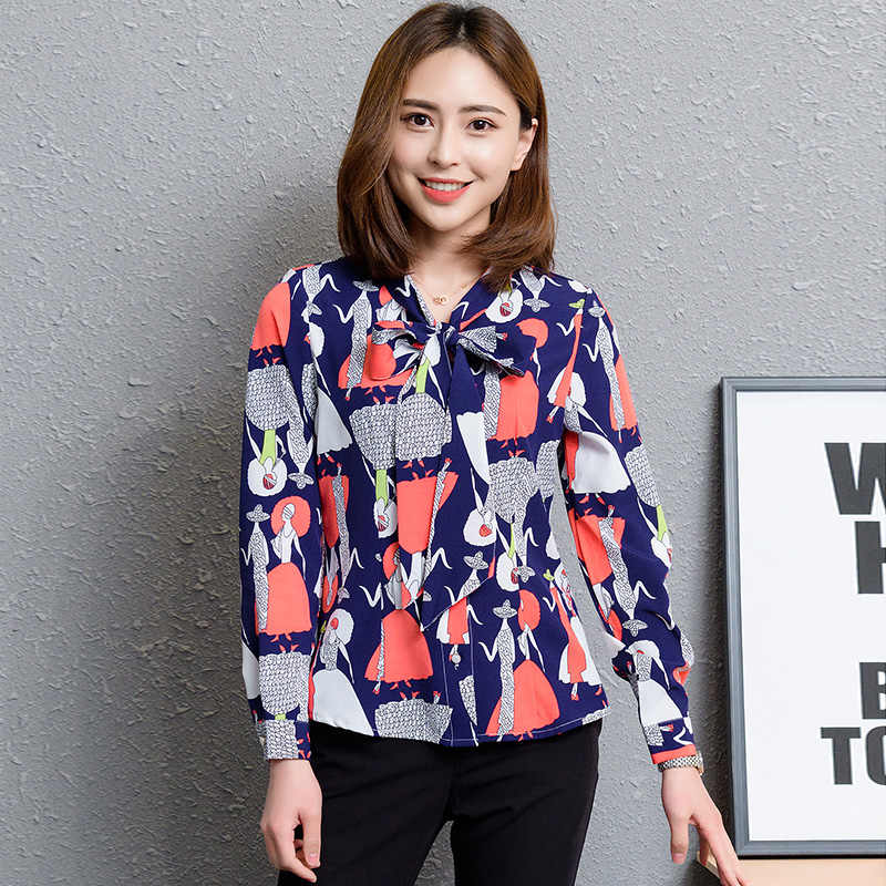 ca8b69b10ba ... 2018 New Fashion Plus Size Blouses Elegant Bow Stripe Shirt Women Long  Sleeve Chiffon Blouse Office ...