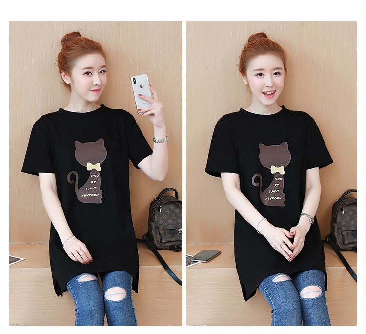 2018 Large size Women T-shirt dress summer Short sleeve Cats print Top Tees Casual O-neck Loose Female Tshirt Plus size 5XL J215 20