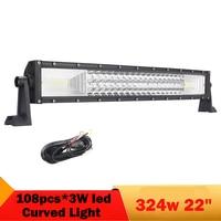 22 Inch Tri row Combo LED Bar SUV ATV Truck UAZ 4x4 off road Headlights Running Lights for Boat Curved LED Light Bar Work Lights