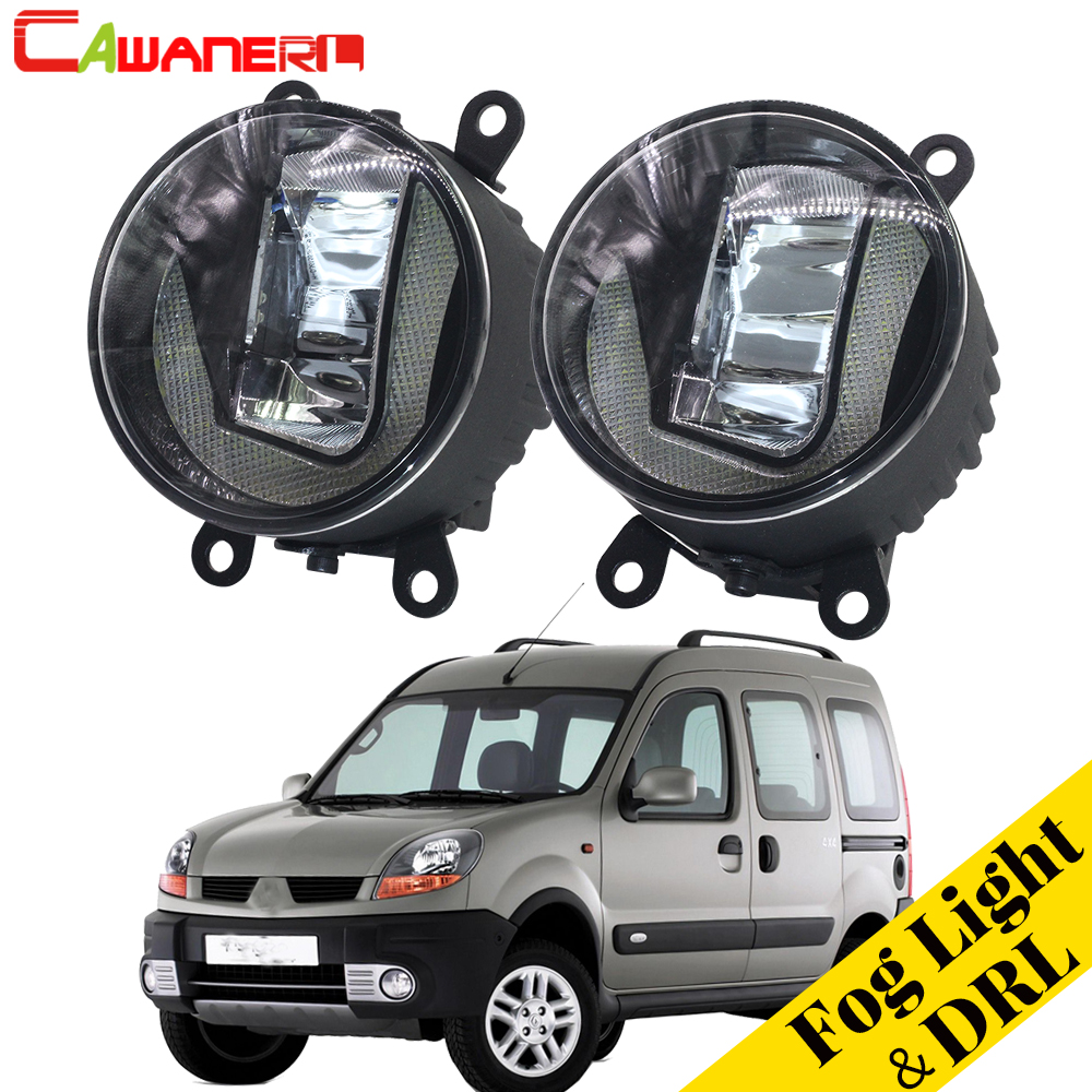 Cawanerl 2 Pieces Car Styling LED Bulb Fog Light DRL Daytime Running Lamp White 12V For Renault Kangoo 2007-2015 стоимость
