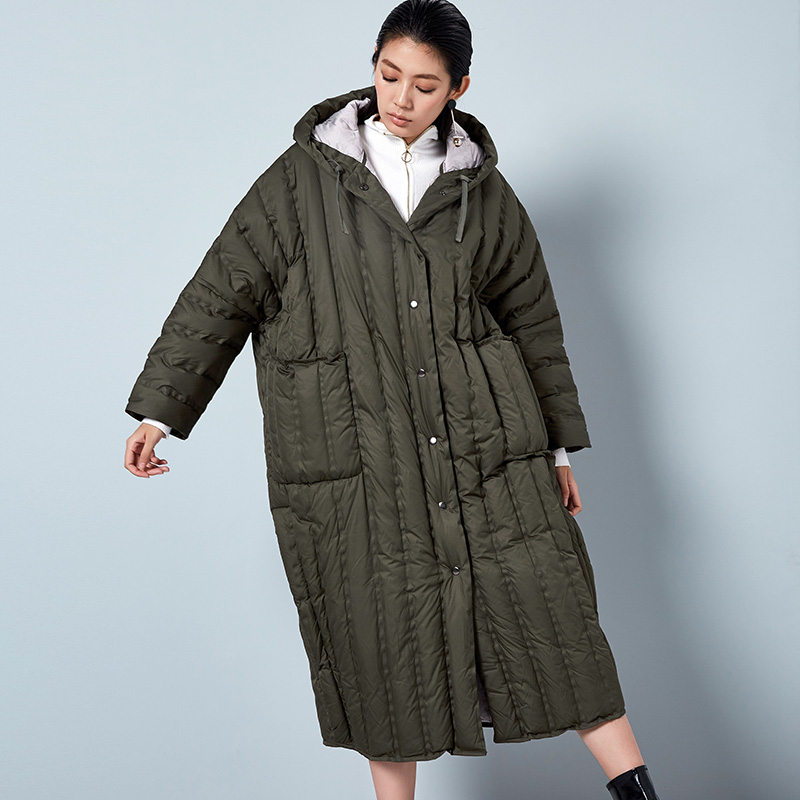 LYNETTE'S CHINOISERIE Winter Original Design Women High Quality Casual Ultra Loose Ultra Long 90% White Duck   Down     Coats   Jackets