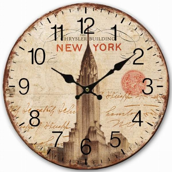 Retro Vintage Style Large Clock New York Chrysler Building Home Decorative Wall Wood 34cm In Clocks From Garden On Aliexpress