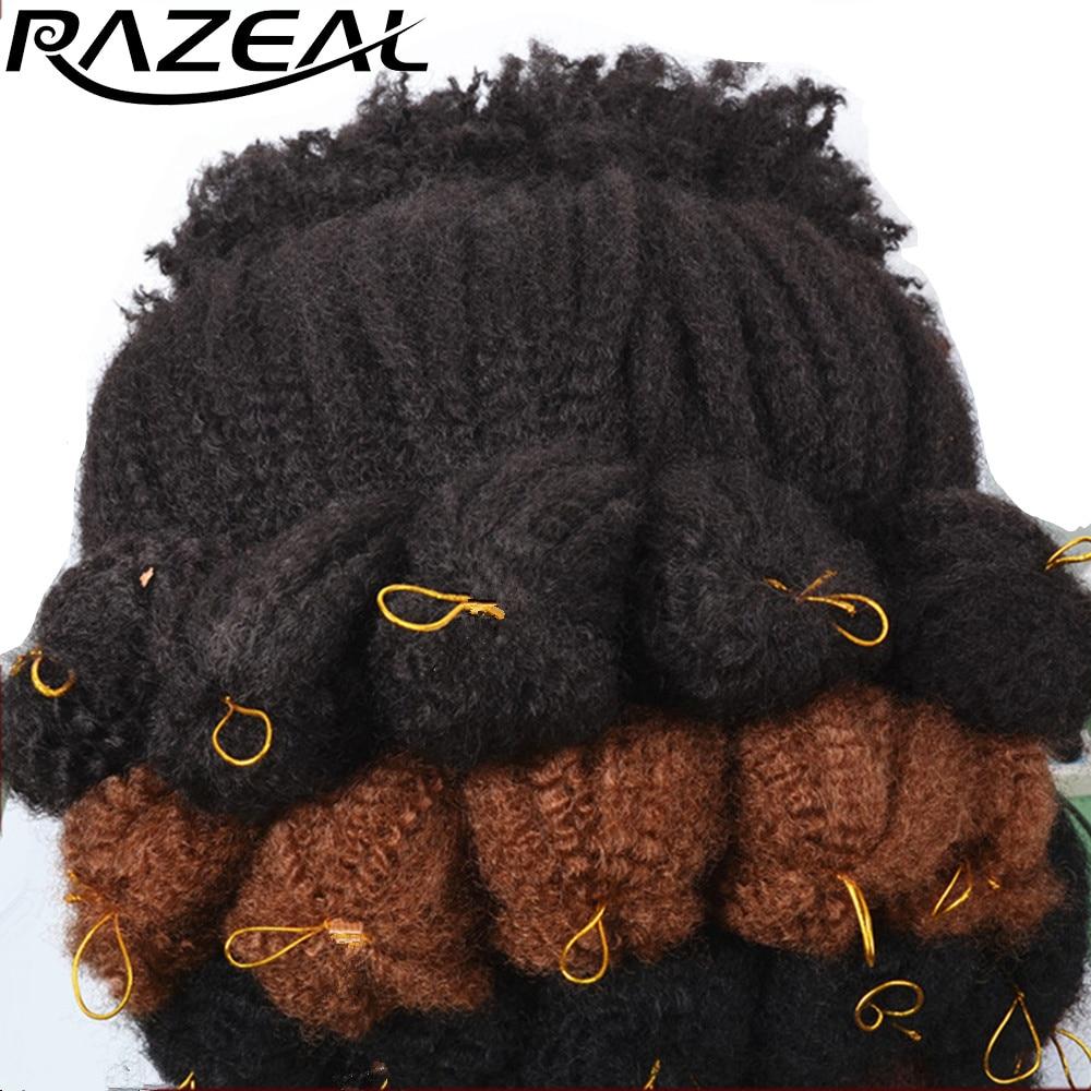 Breichiau Crosio Razeal 18Inch Estyniad Gwallt Braiding synthetig Afro Kinky Marley Braid Gwres Tymheredd Uchel Ffibr