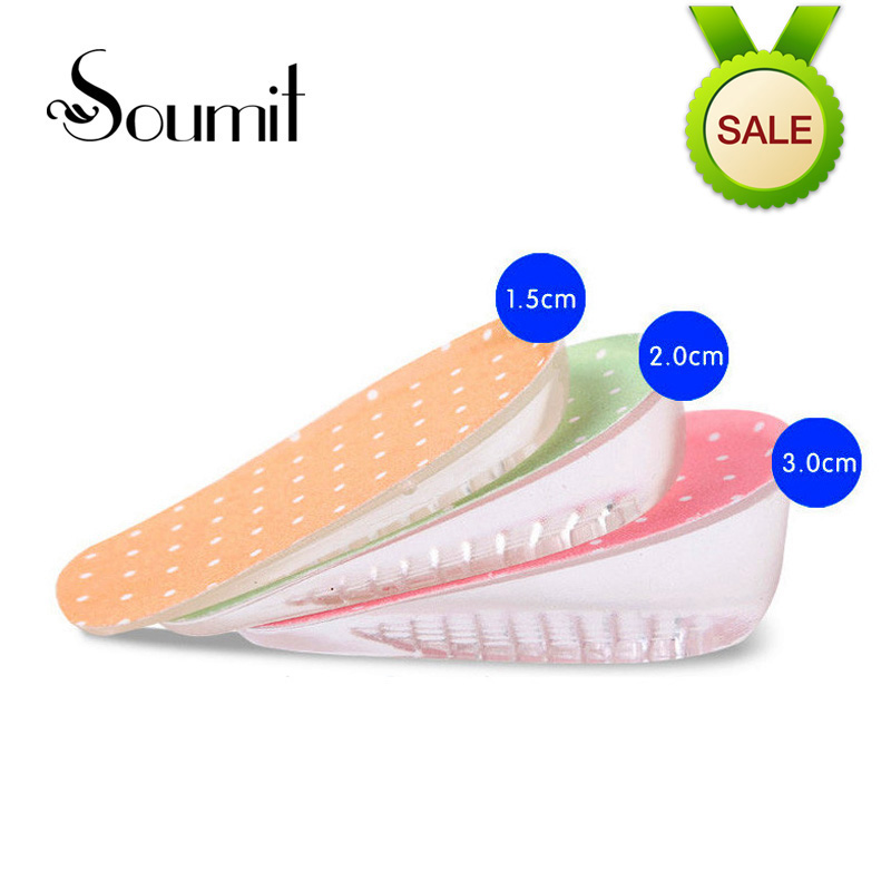 Silicone Gel Invisible Lift Half Height Increase Insoles for Men Women Shoes Soles Heel Cup Cushion Taller Insert Insoles Pads high quality new 3 layer 7cm air bubble cushion shoe lift height increase heel insoles pair taller for men and women