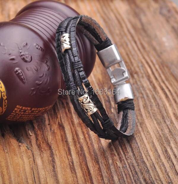 Konstruktiv G154 Alle Schwarz Leder Hanf Geflochtene Surfer-leder-armband Leder-armband-armband-stulpe Metall Schließe Mens