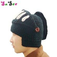 bdbc8a3b11586 New Hot Sale Fashion Roman Knight Helmet hat Cool Handmade Knit Warm Winter  Hats Men Women s