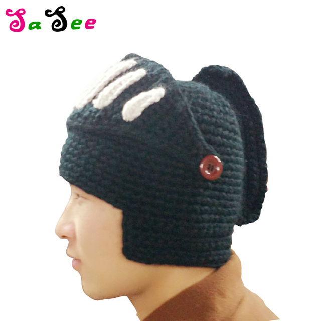cfe8f760e8a New Hot Sale Fashion Roman Knight Helmet hat Cool Handmade Knit Warm Winter  Hats Men Women s Gift Funny Party Ski Mask Beanies