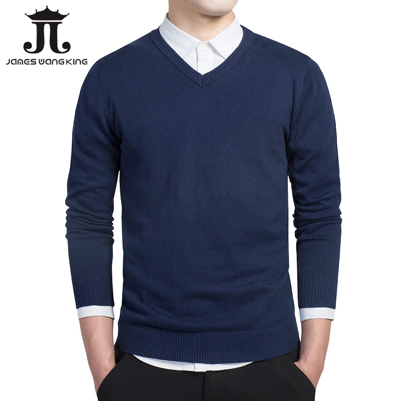 New Men Sweater V-Neck Knit Warm Solid Pullover Male Solid Long Sleeve Blue Sweaters Masculino Pull Homme Plus Size M-3XL M6620