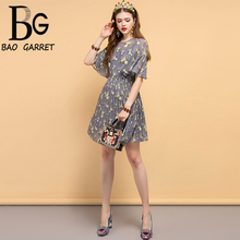 Baogarret Summer Fashion Designer Vintage Dress Women's Flare Sleeve Pleated Mesh Overlay Floral Printed Elegant Dresses