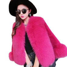 Winter Women\s Faux Fur Coats Three Quarter Sleeve Fox Stitching Warm Short 2018 Fashion Ladies Outerwear H