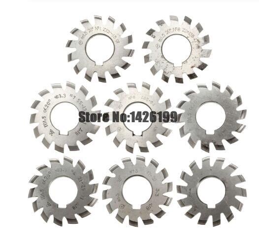 8 Uds. NO.1 NO.8 herramientas de corte de engranaje de acero rápido, M0.4, M0.5, M0.6, M0.7, M0.8, M1, M1.25, M1.5, M2, M3, M4, Modulus PA20 grados