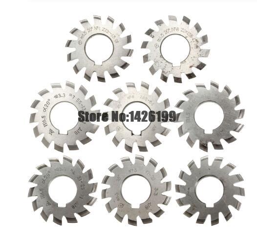 8PCS NO.1 NO.8 M0.4 M0.5 M0.6 M0.7 M0.8 M1 M1.25 M1.5 M2 M3 M4 Modulus PA20 Degrees HSS Gear Milling cutter Gear cutting tools|Milling Cutter| |  -
