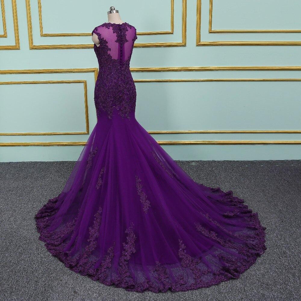 2018 nouveauté élégante robe de soirée pourpre robes de bal longue robe Vestido de Festa sirène perles dentelle Appliques longue robe - 3