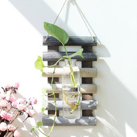 30cm Modern Wall Wood Shelf Hanging Holder with glass Vase for Artificial Plant Flower Decorative Shelve Home Decoration