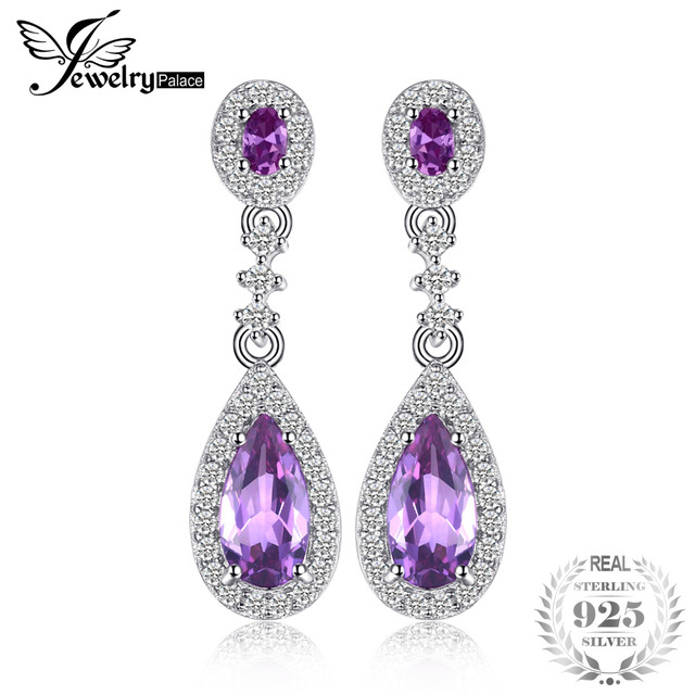 Jewelrypalace Luxry 4 2ct Created Alexandrite Shire Drop Earrings Real 925 Sterling Silver Jewelry Brand New