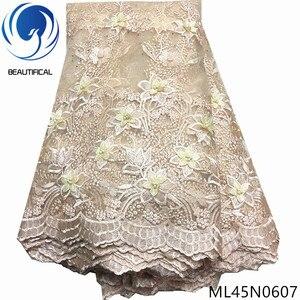Image 5 - Piękne 3d koronki kwiaty najnowsze nigeryjskie koronki style francuski party koronki tkaniny 5 metrów 2019 tiul tkaniny 3d ML45N06
