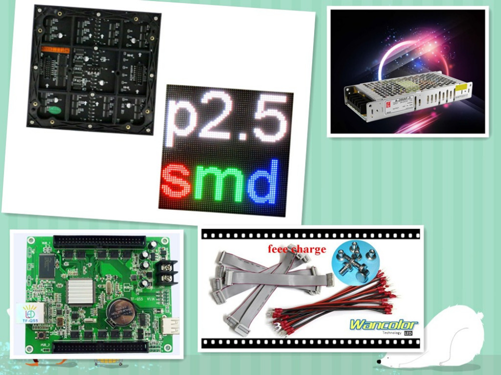 Free Shipping DIY LED Display 10 Pcs P2.5 Indoor SMD Led Module (160*160mm)+RGB Asynchronous Led Controller+power Supply