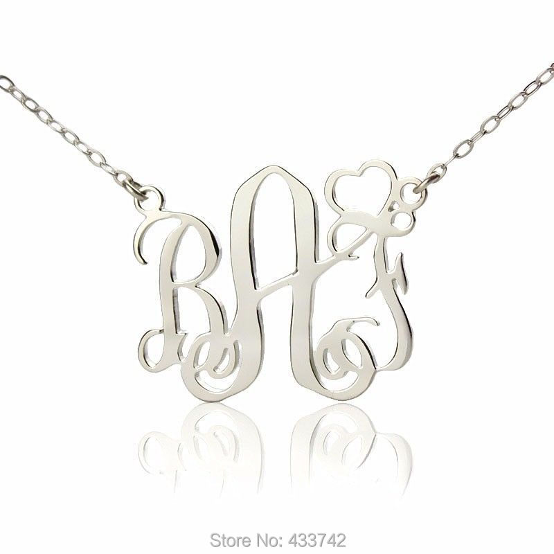 """made in USA New Personalized SilverJewelry Monogram Initial Name Necklace 1.25/"""""""