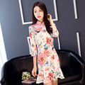 2017 Autumn Winter New Improved Chinese-style Three-quarter Sleeve Cheongsam Fish Tail Dress Long Section Women
