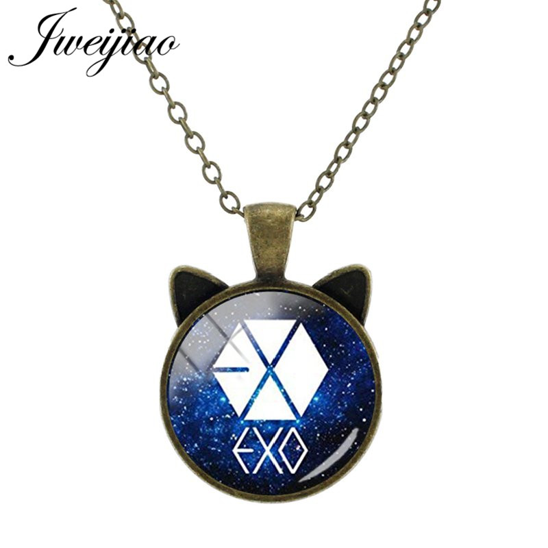 JWEIJIAO Vintage Animal Ear Pendant I love KPOP EXO Album Photo Necklaces Glass Cabohcon Picture Charms For Fans Gift EX02(China)
