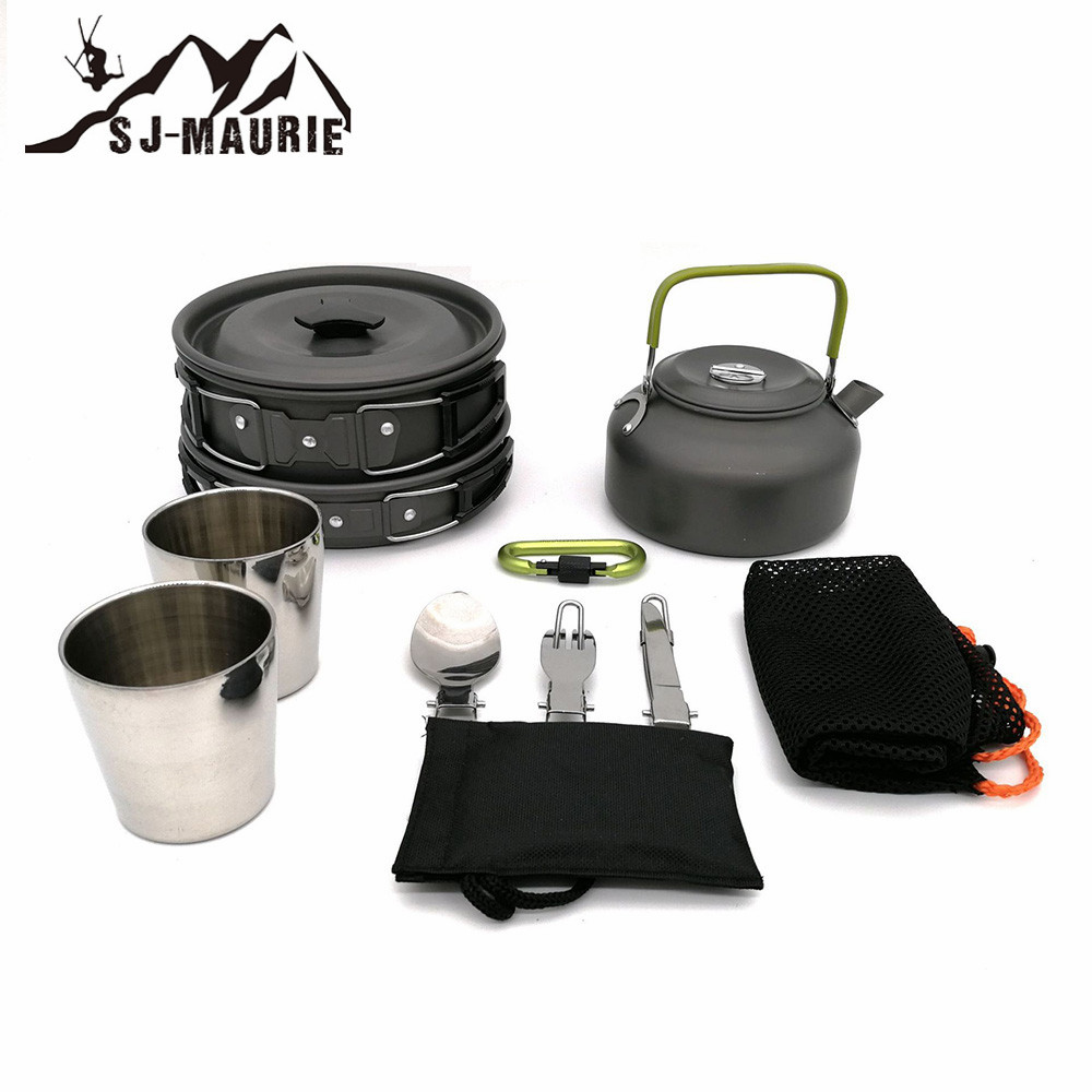 Sj-maurie 1 Set extérieur Camping ustensiles de cuisine casseroles casseroles pique-nique antiadhésif vaisselle avec cuillère pliable fourchette couteau bouilloire tasse