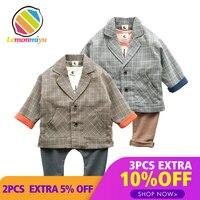 Lemonmiyu Baby Boy 2pcs Spring Clothing Sets Infants Cotton Full Vintage Suits V Neck Jacket And Long Pants Toddler Formal Sets