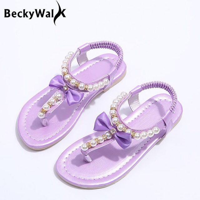 ae75874ccadf 2018 New Summer Style Girls Sandals Children Shoes Fashion Pearl Beach Flip  Flops Sandals Kids Shoes Full Size 21-35 CSH292