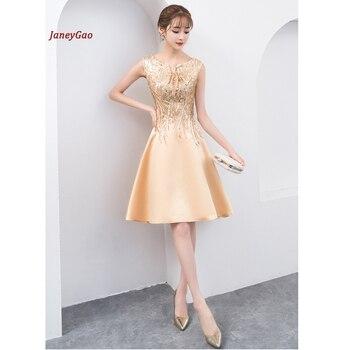 8afe8e4e1ac43 JaneyGao Kısa balo kıyafetleri Kadınlar Için Zarif Altın Elbise Yansıtıcı  Ile Sequins Şık Resmi Nresses Moda Elbisesi 2019