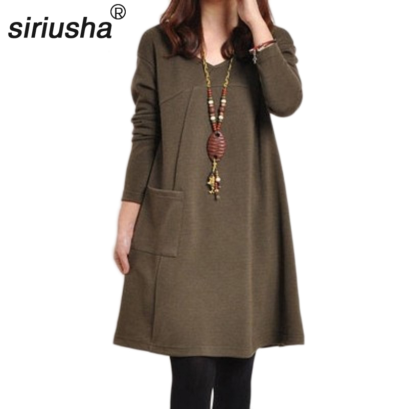 The Commoner Loose Large Size A Type Long Sleeved Linen Cotton Dress for Chubby Women Dresses Suitable for beauty and charm S33