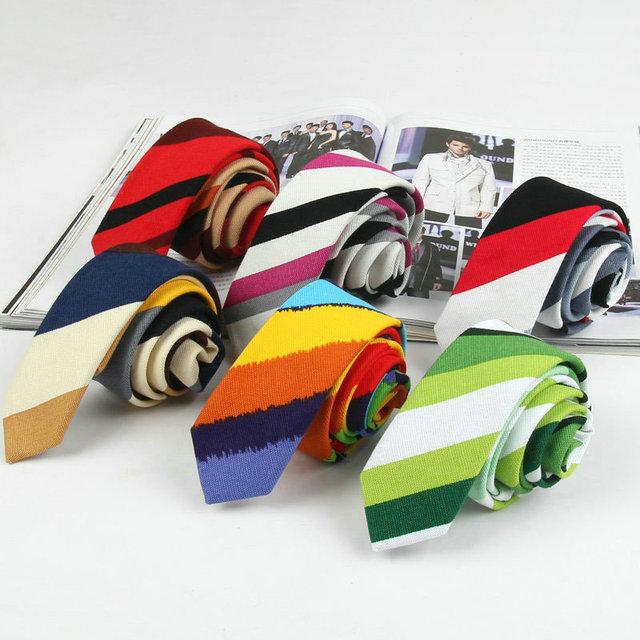 6 Estilos Algodón Corbatas Delgadas para Hombre 5 cm de Rayas de Colores Ropa de Moda de La Escuela corbata Flaca Estrecha Corbata Del Banquete de Boda Rojo verde