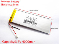 Free Shipping New 3 7 V Lithium Polymer Battery Rechargeable Battery 4050140 Pl 4000 Mah Tablets