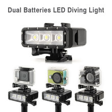 TELESIN Waterproof Diving Light Underwater 30M POV Flash Dimmable LED Night Fill Light for GoPro 7 6 5 4 3, Xiaomi Yi, SJ5000(China)
