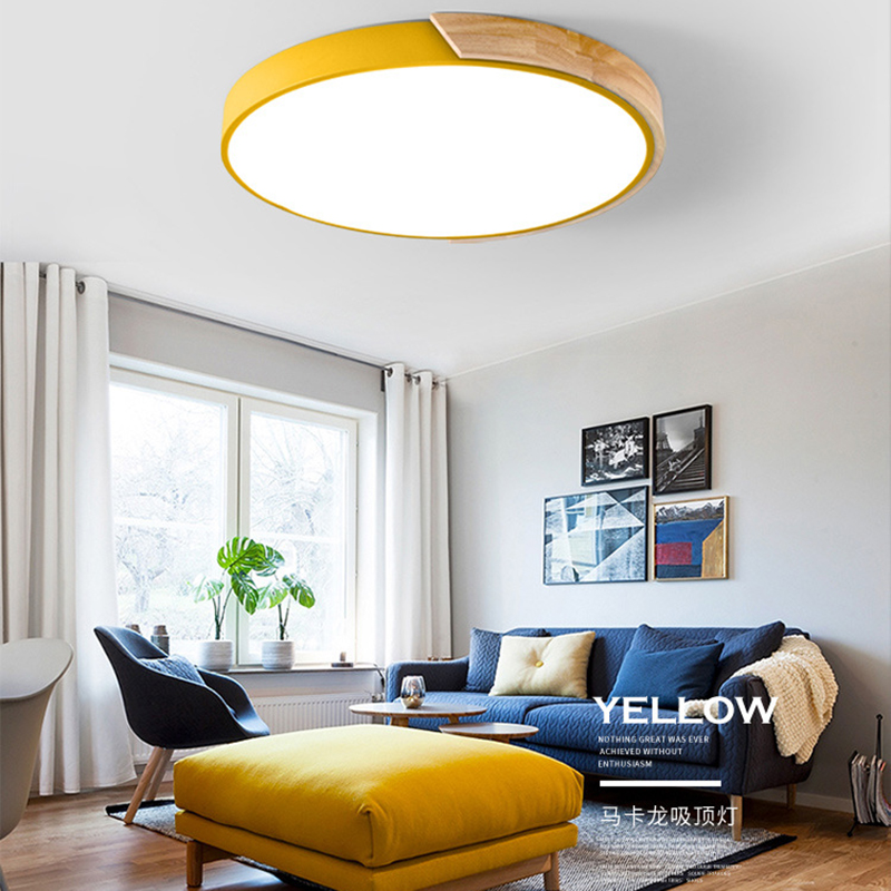 New Round colorful LED Ceiling light lamp led panel wooden frame edge indoor lighting wood light for Bedroom living kitchen gold frame colorful lens round sunglass