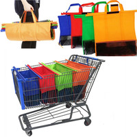 NoEnName Null 4PCS Foldable Reusable Grocery Shopping Cart Trolley Bags Eco Bags With Insulated Cold Bag