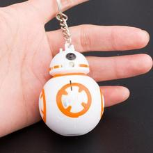 Hot Sale Star Wars Action Figure Keychain With LED Light And Sound BB8 Droid Robot Keyring Pendant Toy