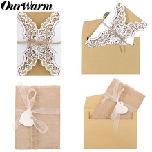 OurWarm 50/10Pcs Vintage Wedding Invitations Cards +Envelope Birthday Greeting Card Rustic Wedding Engagement Party Supplies