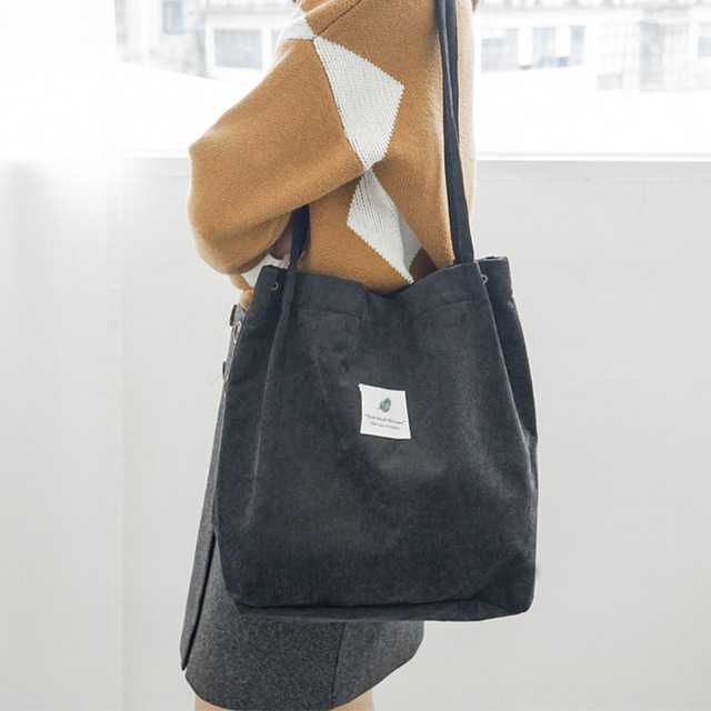 Fashion Corduroy Canvas Tote Ladies Casual Shoulder Bag Foldable Reusable Shopping Bags Beach Bag Female Cotton Cloth Handbag