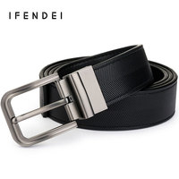 IFENDEI 100 Genuine Leather Men S Belt Rotated Pin Buckle Strap Luxury Brand Belts Cowskin Striped