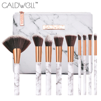 CALDWELL 9 10Pcs Marble Texture Makeup Brushes Set With Marble Texture Cosmetic Bag Travel Portable Professional