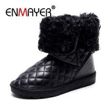 ENMAYER Women Ankle boots Snow Round toe Low heels Size34-39 Causal shoes Warm Plush Genuine Leather Boots for women CR660